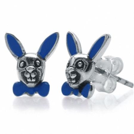 Blue Enamel 925 Sterling Silver Rabbit Stud Earrings