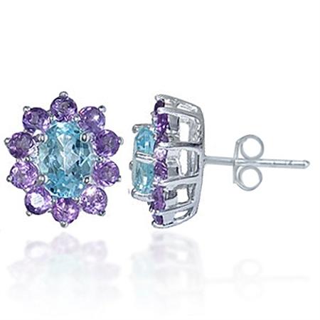 Natural Amethyst & Blue Topaz 925 Sterling Silver Flower Earrings