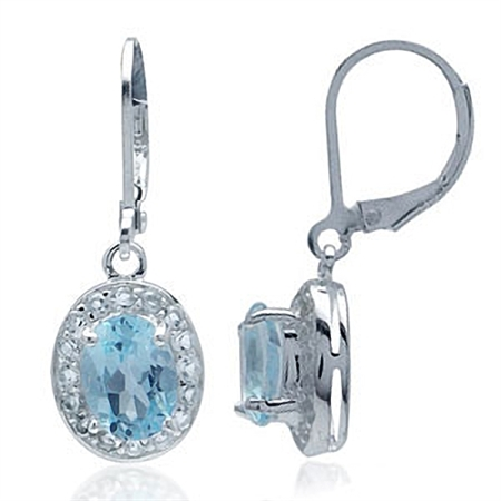 3.06ct. Genuine Blue Topaz White Gold Plated 925 Sterling Silver Leverback Dangle Earrings