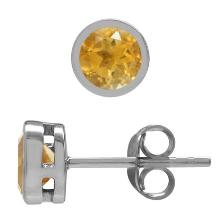 Natural 5MM Round Citrine 925 Sterling Silver Bezel Set Stud Earrings