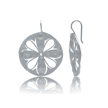 Modern Flower Sterling Silver Hook Earrings