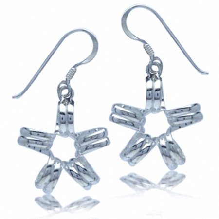 Flower Spiral Design Sterling Silver Earrings