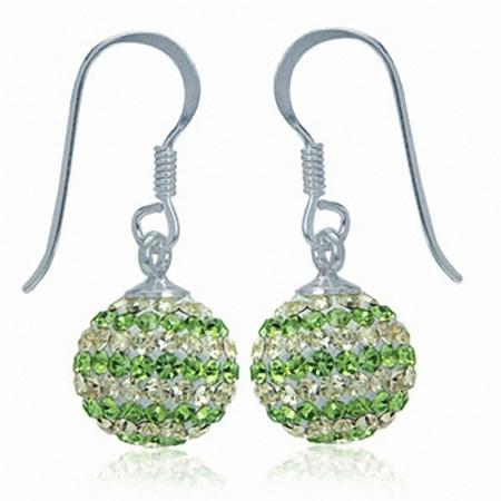 10MM Peridot Green & Jonquil Crystal Ball 925 Sterling Silver Dangle Earrings