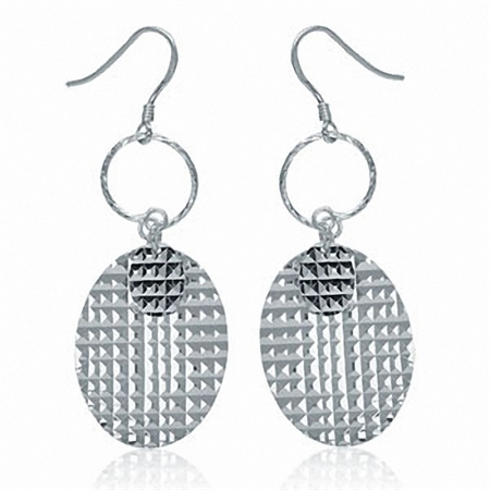 Textured Oval Disc 925 Sterling Silver Dangle Earrings
