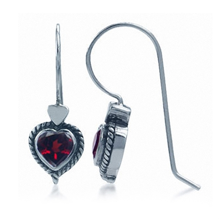 1.04ct. Natural Heart Shape Garnet 925 Sterling Silver Rope Hook Earrings