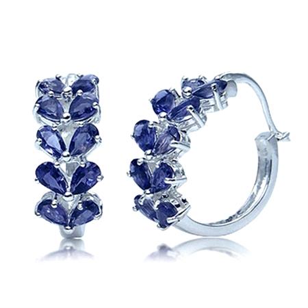 4ct. Natural Iolite 925 Sterling Silver LEAF Hoop Earrings