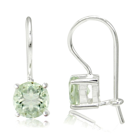 1.4ct. 6MM Natural Round Shape Green Amethyst 925 Sterling Silver Closure Hook Earrings