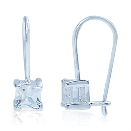 Square White Cubic Zirconia (CZ) 925 Sterling Silver Hook Closure Earrings