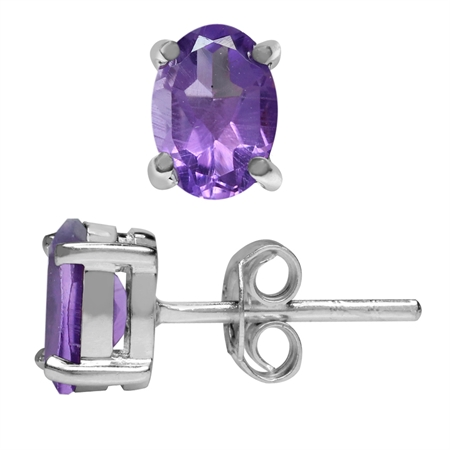 1.44ct. Natural Oval Shape African Amethyst 925 Sterling Silver Stud Earrings