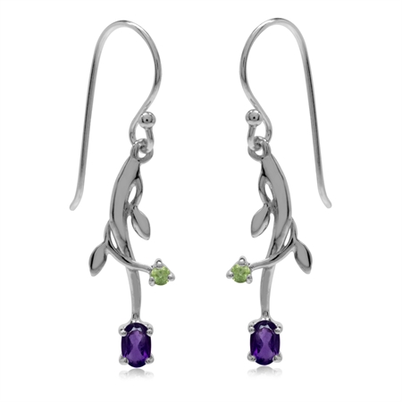 Natural African Amethyst & Peridot 925 Sterling Silver Vine Leaf Dangle Hook Earrings