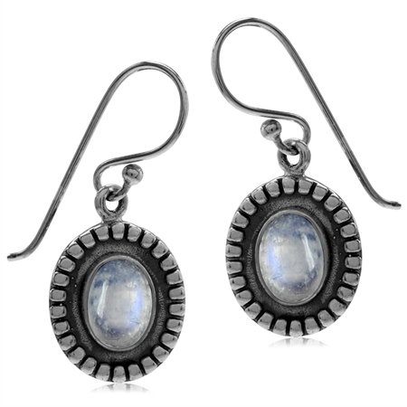 Natural Moonstone 925 Sterling Silver Bali/Balinese Style Dangle Hook Earrings