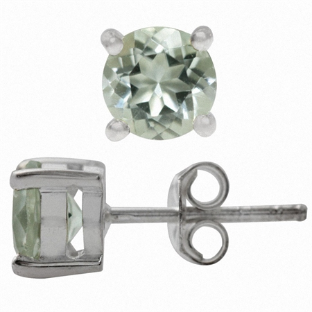 1.6ct. 6MM Natural Round Shape Green Amethyst 925 Sterling Silver Stud Earrings