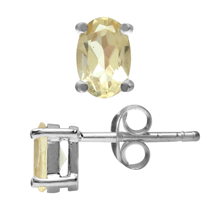 6x4MM Petite Natural Oval Shape Citrine 925 Sterling Silver Stud Earrings