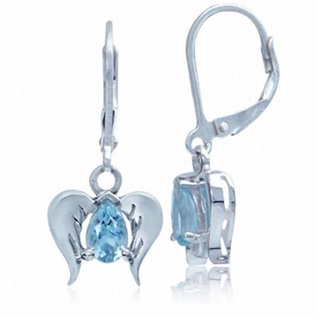 Genuine Blue Topaz 925 Sterling Silver Angel Wings Dangle Leverback Earrings