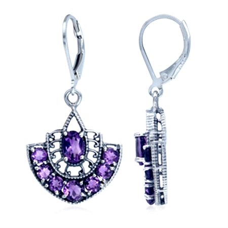 2.44ct. Natural African Amethyst 925 Sterling Silver Filigree Leverback Dangle Earrings