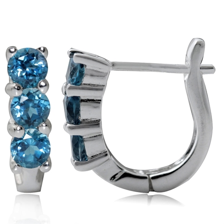 3-Stone Genuine London Blue Topaz White Gold Plated 925 Sterling Silver English Hook Earrings