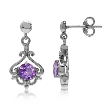 1ct. Natural Amethyst White Gold Plated 925 Sterling Silver Victorian Style Dangle Post Earrings