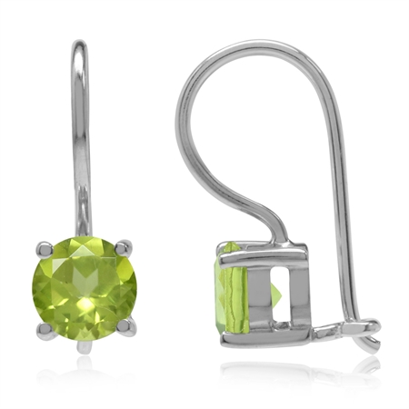 1.8ct. 6MM Natural Round Shape Peridot 925 Sterling Silver Closure Hook Earrings