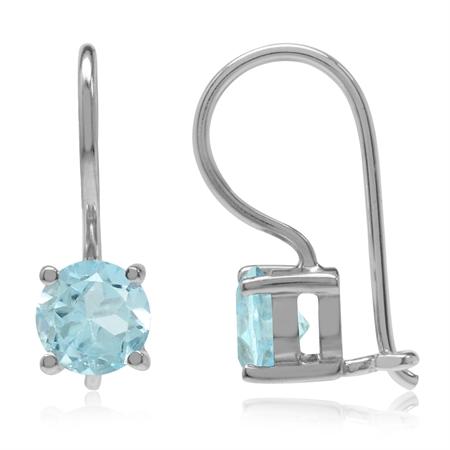 1.9ct. Genuine Sky Blue Topaz 925 Sterling Silver Closure Hook Earrings