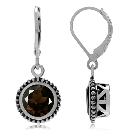 3.94ct. Natural Round Shape Smoky Quartz 925 Sterling Silver Bali/Balinese Style Leverback Earrings
