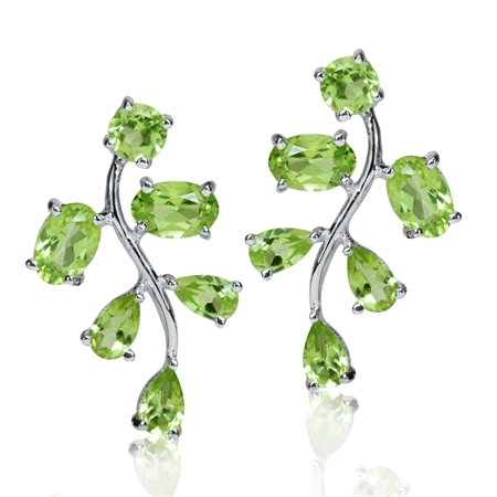 3.78ct. Natural Peridot 925 Sterling Silver Leaf Post Earrings