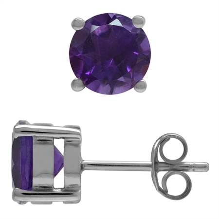 2ct. 7MM Natural Round Shape African Amethyst 925 Sterling Silver Stud Earrings