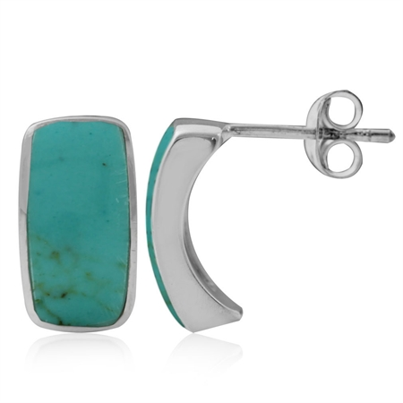 Created Green Turquoise White Gold Plated 925 Sterling Silver Post Earrings