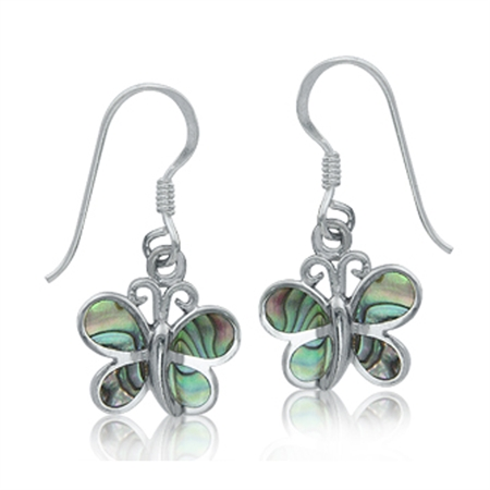 Abalone/Paua Shell Inlay 925 Sterling Silver Butterfly Dangle Hook Earrings