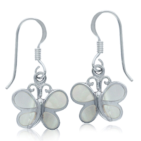 White Mother of Pearl 925 Sterling Silver BUTTERFLY Dangle Hook Earrings