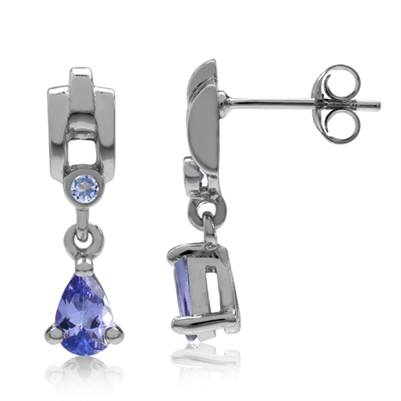 Petite Genuine Tanzanite White Gold Plated 925 Sterling Silver Drop Dangle Earrings