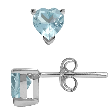 1ct. 5MM Petite Genuine Heart Shape Blue Topaz 925 Sterling Silver Stud Earrings