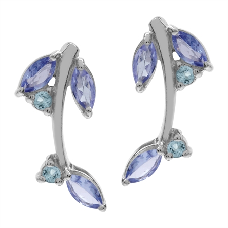 Genuine Tanzanite & Blue Topaz White Gold Plated 925 Sterling Silver Leaf Post Earrings