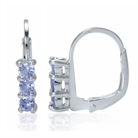 Petite 3-Stone Genuine Tanzanite White Gold Plated 925 Sterling Silver Leverback Earrings