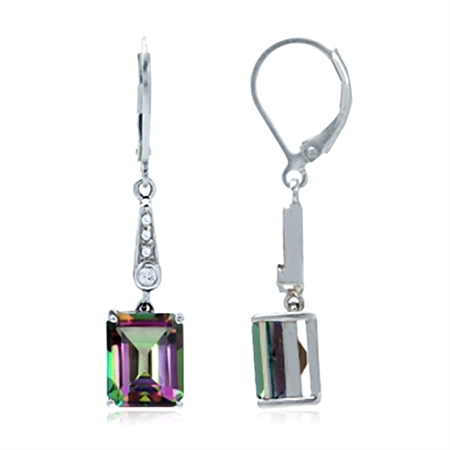 7.82ct. Mystic Fire Topaz White Gold Plated 925 Sterling Silver Leverback Dangle Earrings