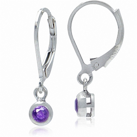 3MM Extra Petite Natural Round Shape Amethyst 925 Sterling Silver Leverback Dangle Earrings
