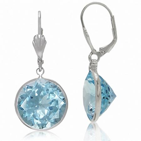 HUGE 27.72ct. Genuine Blue Topaz 925 Sterling Silver Dangle Leverback Earrings
