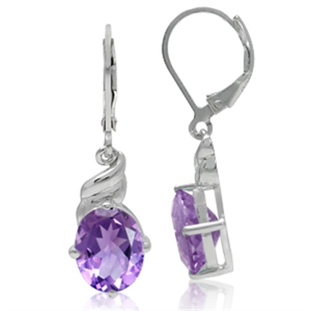 4.72ct. 10x8MM Oval Natural February Birthstone Amethyst 925 Sterling Silver Leverbacks Earrings