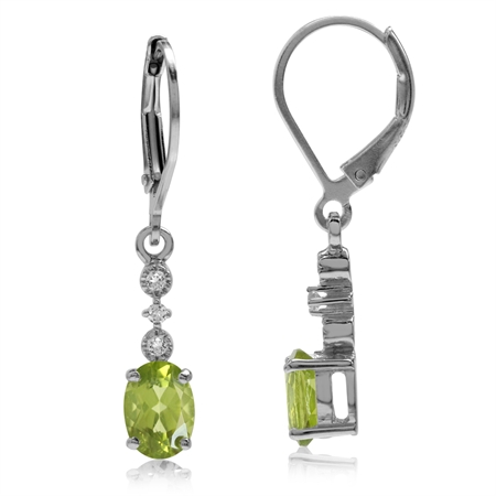 1.74ct. Natural Peridot & White Topaz Gold Plated 925 Sterling Silver Leverback Dangle Earrings