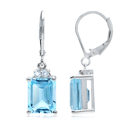 8.5ct. Genuine Blue & White Topaz 925 Sterling Silver Leverback Earrings