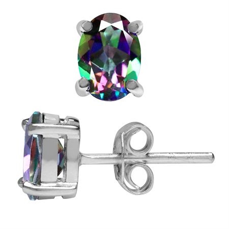 1.82ct. Oval Shape Mystic Fire Topaz 925 Sterling Silver Stud Earrings