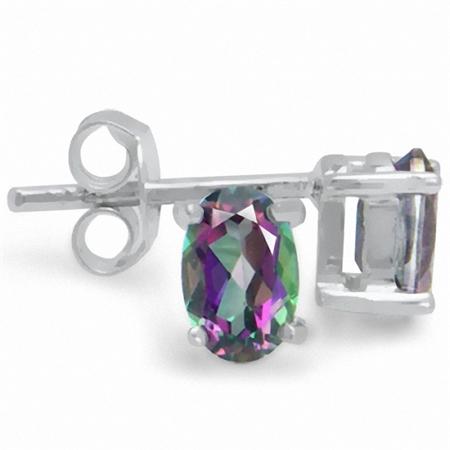 1.08ct. 6x4MM Petite Oval Shape Mystic Fire Topaz 925 Sterling Silver Stud Earrings