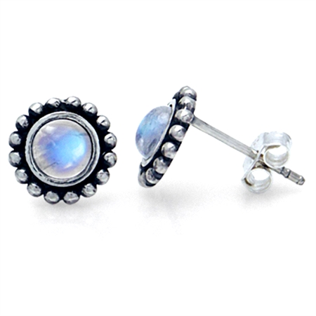 5MM Natural Moonstone 925 Sterling Silver Bali/Balinese Style Stud Earrings