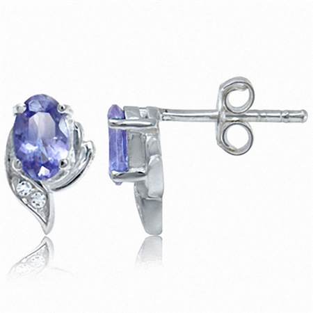 Petite Genuine Tanzanite & White Topaz 925 Sterling Silver Stud Earrings