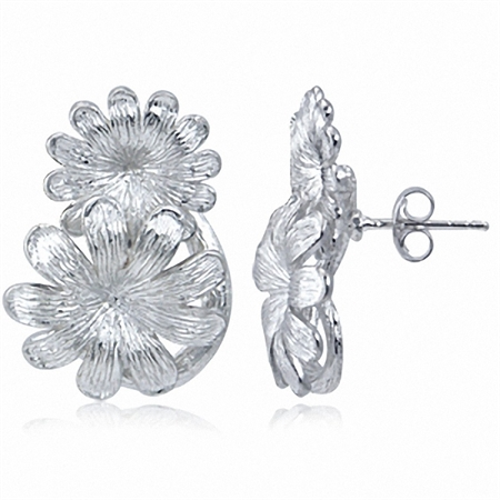 925 Sterling Silver Twin Flower Post Earrings