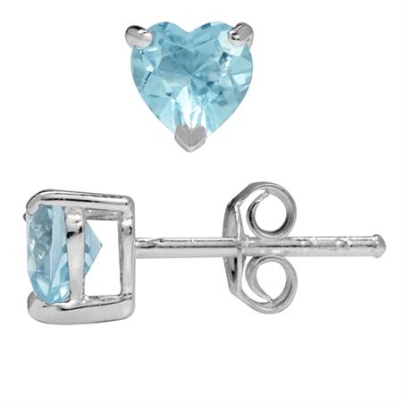1ct. 5MM Petite Genuine Heart Shape Blue Topaz 925 Sterling Silver Stud Earrings