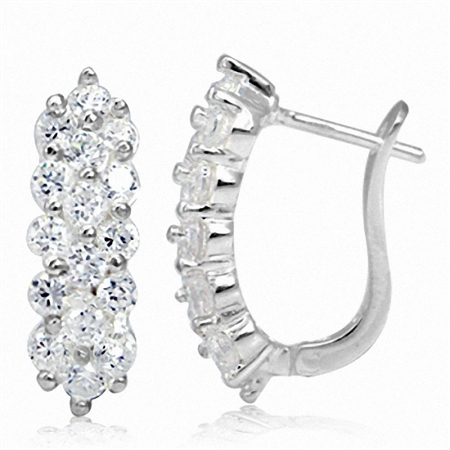 White CZ 925 Sterling Silver Cluster Huggies Earrings