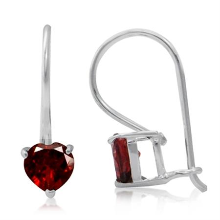 1.06ct. Natural January Birthstone Garnet 925 Sterling Silver Hook Earrings