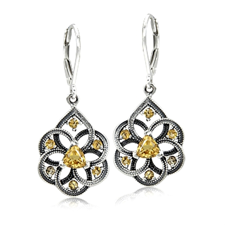 Natural Citrine 925 Sterling Silver Filigree Dangle Drop Leverback Earrings