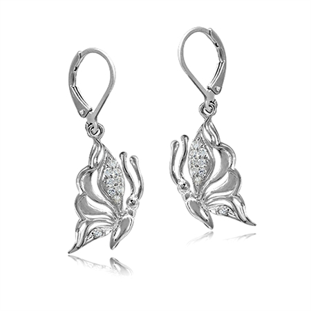 CZ White Gold Plated 925 Sterling Silver Butterfly Dangle Leverback Earrings