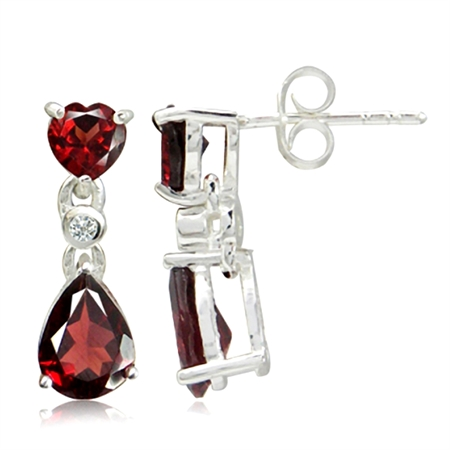 2.9ct. Natural Garnet & White Topaz 925 Sterling Silver Drop Dangle Earrings